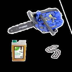 HYUNDAI Tronçonneuse Elagueuse thermique 25cm3 guide 30cm + 2ème chaîne et lubrifiant pour chaîne - HEG25L