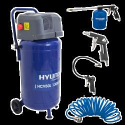 HYUNDAI Compresseur vertical 50L + Kit 4 accessoires H54C