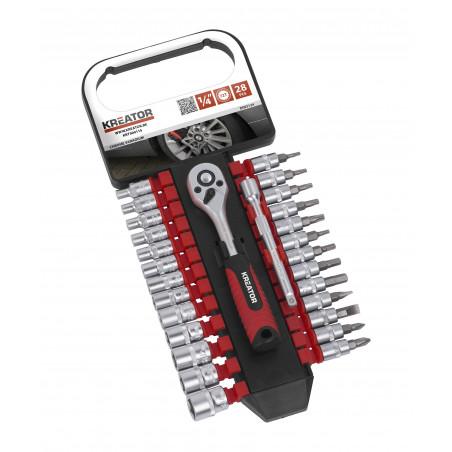 KREATOR Set de clés à douille KRT500115 1/4 28 pcs
