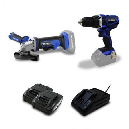 Pack sans fil Perceuse 20 V + Meuleuse 20 V + 2 batteries 2Ah - HPACK20V2A