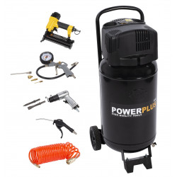 Powerplus Compresseur vertical 50L + 9 outils POWX1751