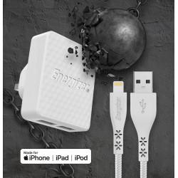 Energizer Chargeur 3.4A 2 ports USB + câble Lightning pour Iphone