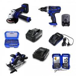 Pack meuleuse, perceuse percussion, scie circulaire 20V, coffret accessoires, batteries 2 et 4 Ah et chargeur HPACKPRO20V-2
