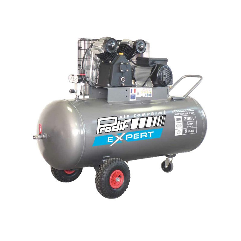 Compresseur à Courroie PRODIF 3CV 200L 9 Bars 230V - 18.6 M³/H VC3552003MG